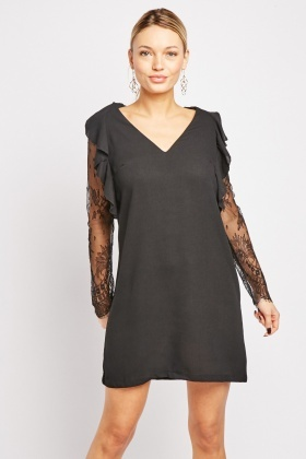 Lace Sleeve Ruffle Tunic Dress