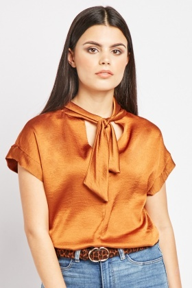 Tie Up Neck Textured Sateen Blouse