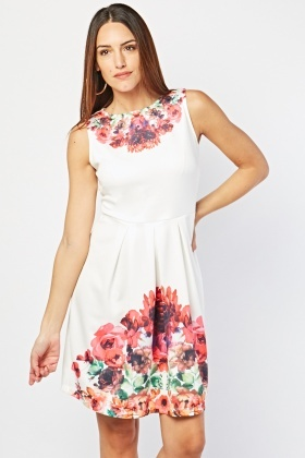 Floral Box Pleated Dress