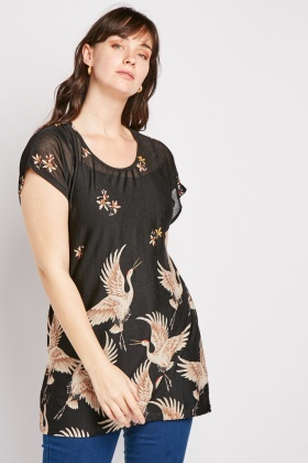 New Look Curves Plus Size Top Black Floral Size UK 22-28