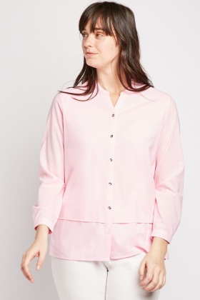 Tiered Panel Pink Blouse