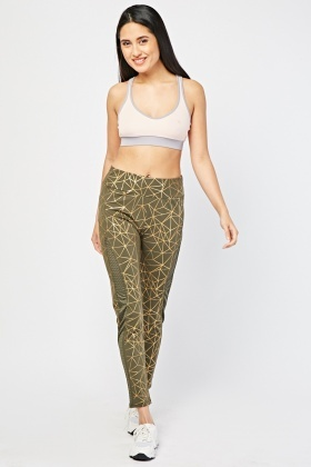 Perforated Side Metallic Active Leggings