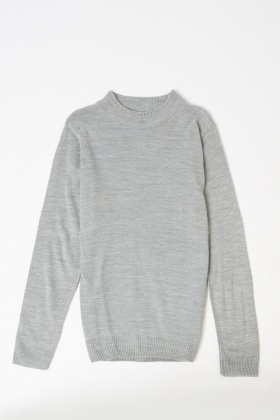 Ribbed High Neck Pullover