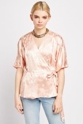Silky Printed Wrap Blouse