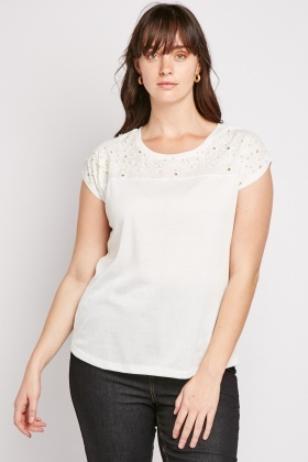 Crochet Embellished White Top