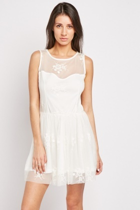 Sweetheart Mesh Panel Skater Dress