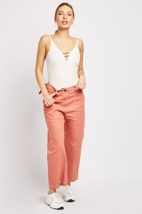Oversize Pocket Front Crop Trousers