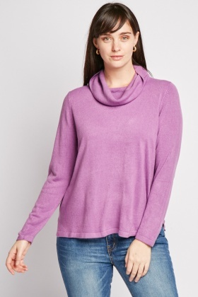 Slouchy Neck Knitted Jumper