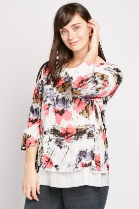 Dispersed Floral Print Blouse
