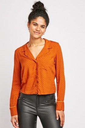 Rust Dotted Pattern Shirt