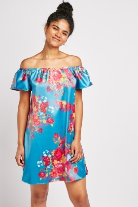 Sateen Flower Print Off Shoulder Dress
