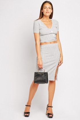 Grid Printed Button Front Top And Skirt Set