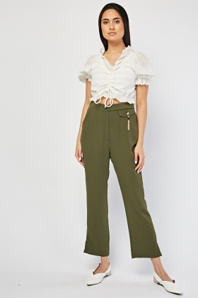 Straight Leg Plain Trousers