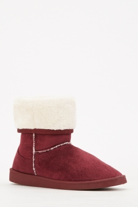 Pack Of 2 Fluffy Wine Winter Boots