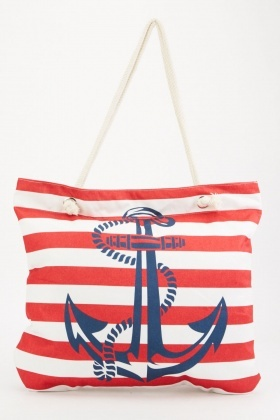 Anchor Striped Beach Bag