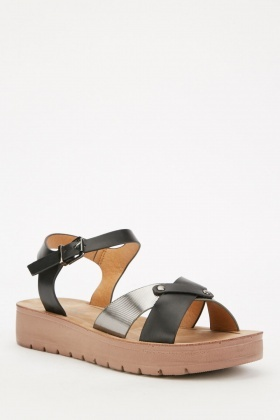 Platform Contrast Cross Strap Sandals