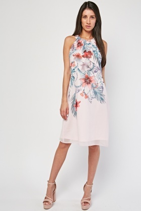 Halter Neck Floral Shift Dress
