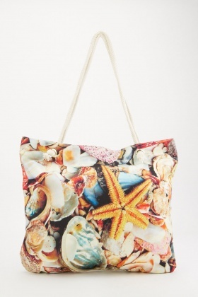 Sea Shell Printed Beach Bag