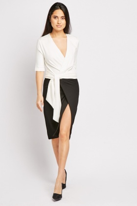 Slit Front Monochrome Dress