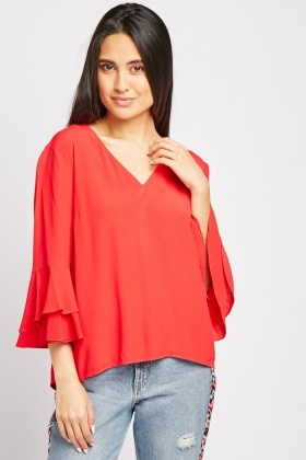 Bell Sleeve V-Neck Blouse