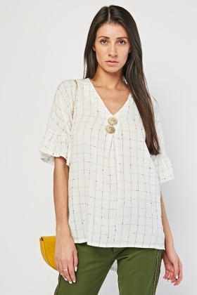 Decorative Button Front Checkered Blouse