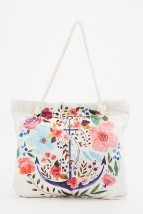 Floral Anchor Beach Bag