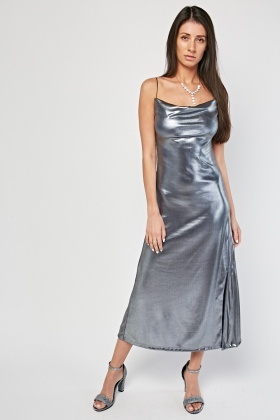 Metallic Strappy Midi Dress