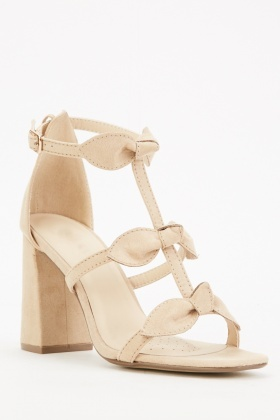 Nude Bow Front Strappy Block Heels