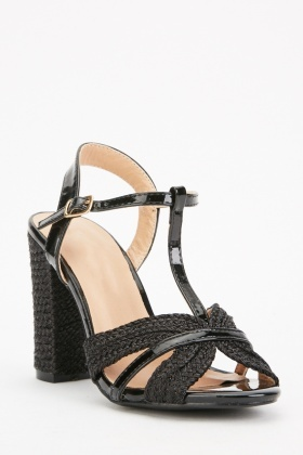 Plaited T-Strap Block Heels