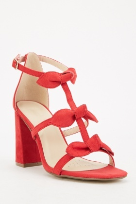 Red Strappy Block Heels