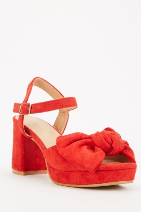 Red Suedette Bow Front Block Heels
