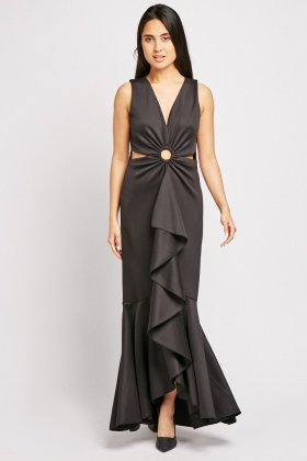 Cut Out Front Ruffle Maxi Dress
