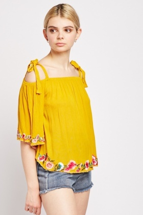 Embroidered Flower Trim Top