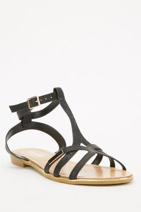 Ankle Strap Black Sandals