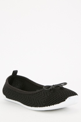 Bow Black Perforated Shoes