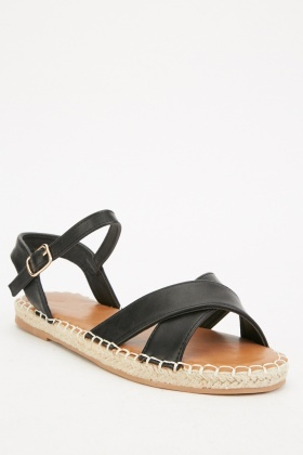 Cross Strap Espadrille Sandals