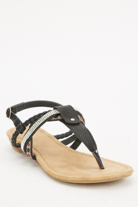 Encrusted Contrasted Thong Sandals