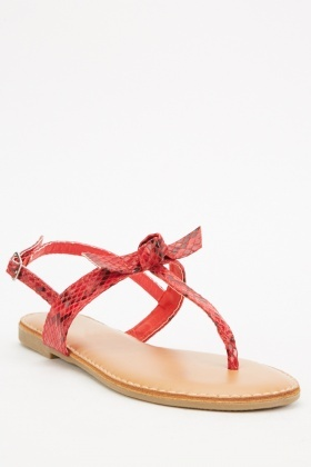 Knotted Front Snake Print Sandals
