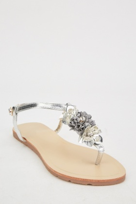 Metallic Thong 3D Flower Sandals