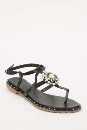Studded Trim Embellished Sandals