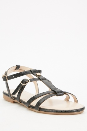 Textured Buckled Strappy Sandals