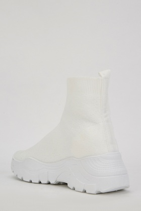 White Ribbed Sock Trainers - Just $6