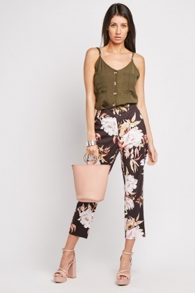 Large Floral Print Tapered Trousers