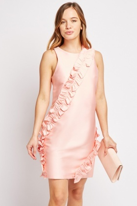 Ruffle Trim Sleeveless Dress
