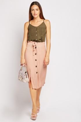 Button Front Nude Midi Skirt $6.70