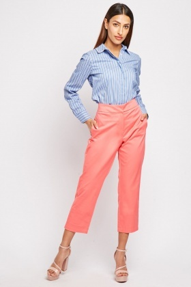 Straight Cut Coral Trousers