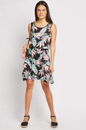 Feather Print Mini Skater Dress