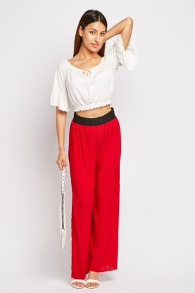 Pleated Wide Leg Culotte Trousers