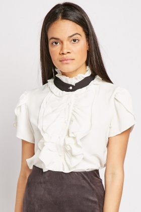Ruffle Panel White Blouse