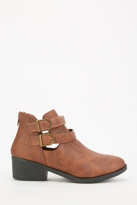 Buckle Strap Brown Ankle Boots